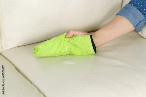 Applying Cleaning Solution to Leather Sofa