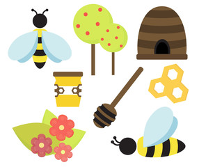 Cute vector bee and honey illustration set