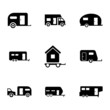 Vector black trailer icons set - 63504025