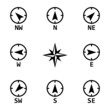 Vector black wind rose icons set