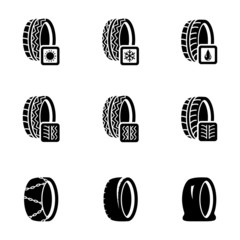 Vector black tire icon set