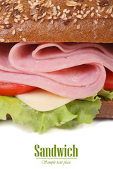 sandwich with ham and vegetables, sprinkling sesame isolated