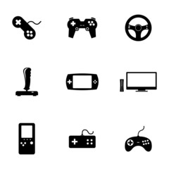 Vector black video game icons set