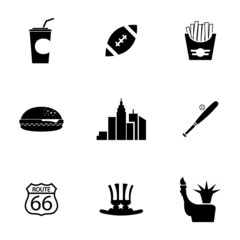 Vector black USA icons set