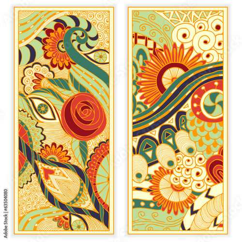 Vector hand drawn ethnic pattern card set.