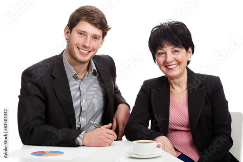 Smiling coworkers during job