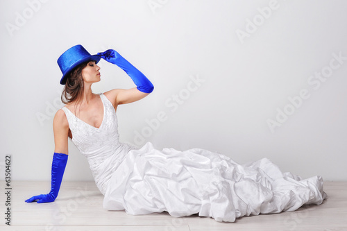Portrait of elegant woman with blue hat