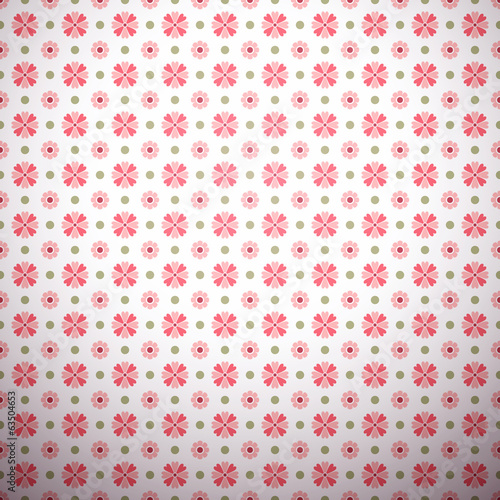 Abstract flower pattern wallpaper with polka dot