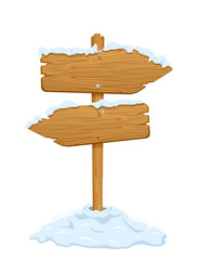 Snow on wooden sign