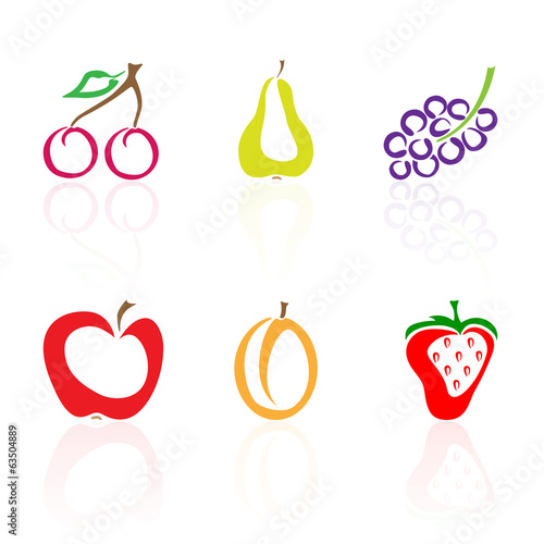 Set of colored fruit icons