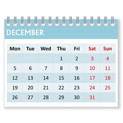 Calendar sheet for december