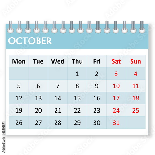 Calendar sheet for october