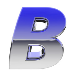 Chrome alphabet symbol letter B with color gradient reflections
