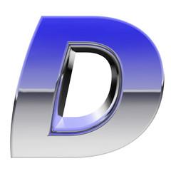 Chrome alphabet symbol letter D with color gradient reflections