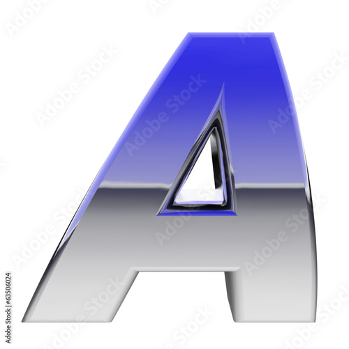 Chrome alphabet symbol letter A with color gradient reflections