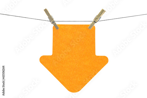 Flat orange arrow sticky note hanged, on white background