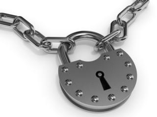 Padlock and chain.