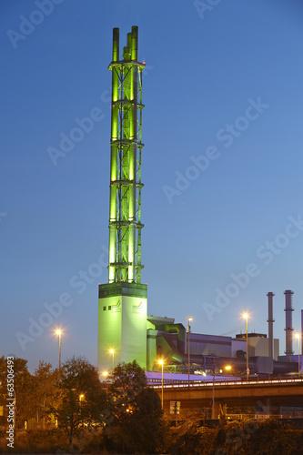 canvas print picture Duisburg - Stadtwerketurm am Abend