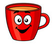 Colorful red cartoon mug of coffee