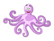 Cute cheerful cartoon octopus