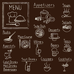 Hand drawn restaurant menu design elements on blackboard