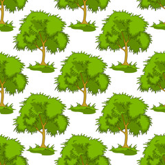 Seamless pattern of leafy green trees