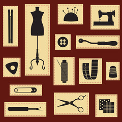 Vintage sewing and tailoring icons vector set