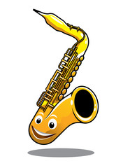 Funny happy brass saxophone