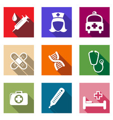 Set of flat healthcare and medical icons