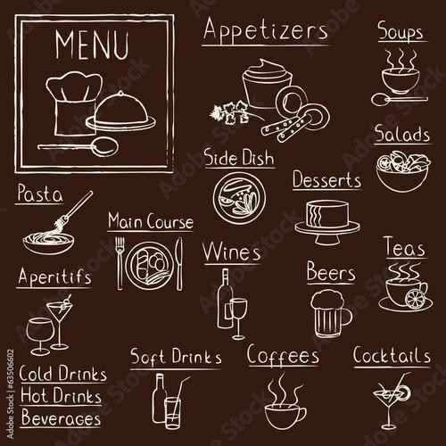 Naklejka Hand drawn restaurant menu design elements on blackboard