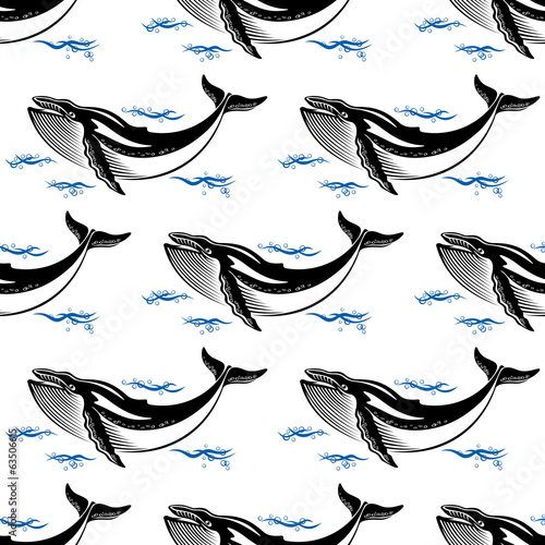 Swimming whale seamless pattern
