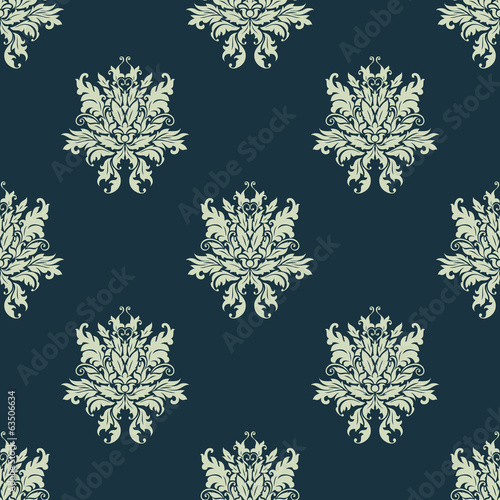 Ornate floral damask style seamless pattern © Vector Tradition
