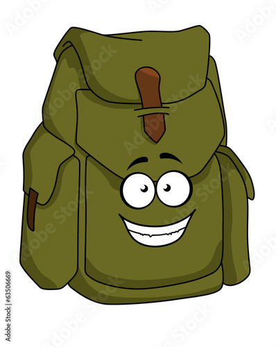Tourist green canvas rucksack