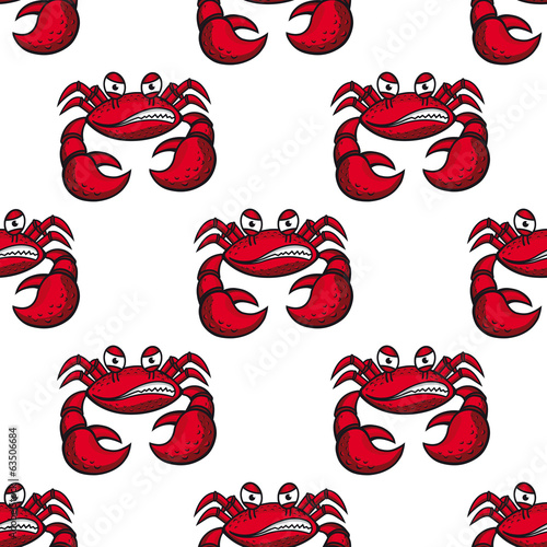 Seamless pattern of angry red crab