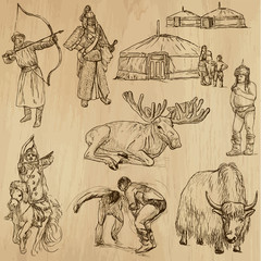 Mongolia no.1 - an hand drawn illustrations, vector set