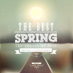 The Best Spring typographic design with colourful background