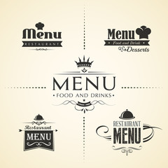 Restaurant menu design sets