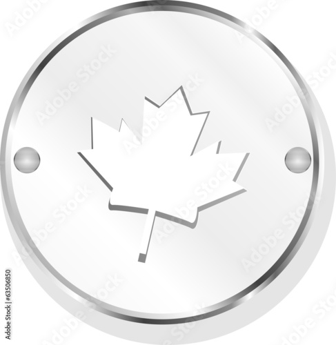 mapple leaf web icon button isolated on white