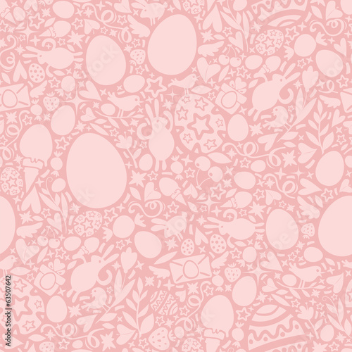 Easter Seamless Pattern in Pink Colors