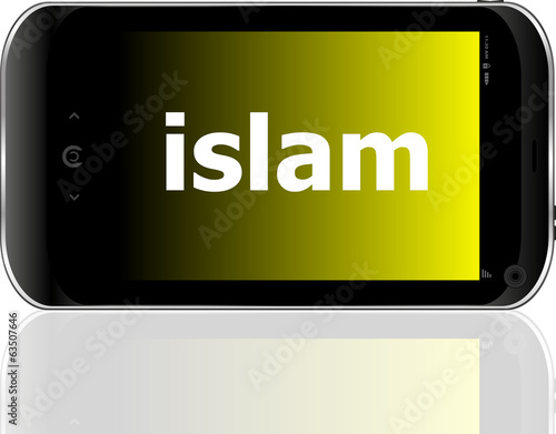 islam word on smart mobile phone, social concept