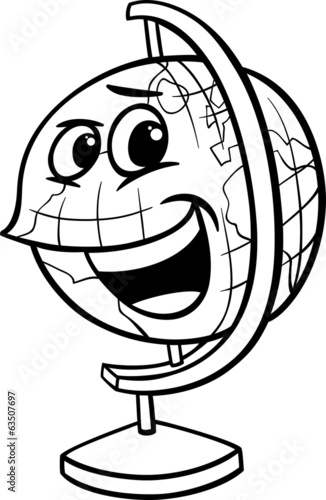 globe cartoon coloring page
