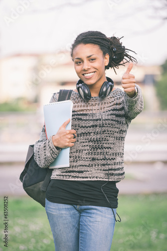 Beautiful Mixed-Race Student Outdoor