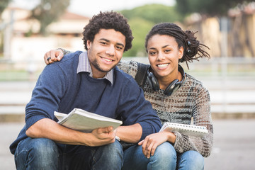 Mixed-Race Student Couple Outdoor