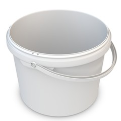 3d empty white plastic bucket