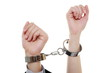 relationship concept female male hands in handcuffs