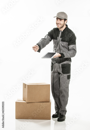 Portrait of a delivery man on isolated background using digital