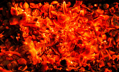 background of burning coals