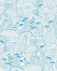 Mushrooms seamless pattern