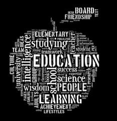 Education word cloud apple shape