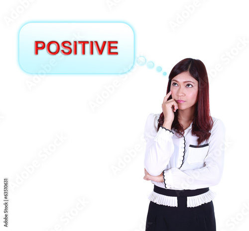 Business woman thinking about positive thinking